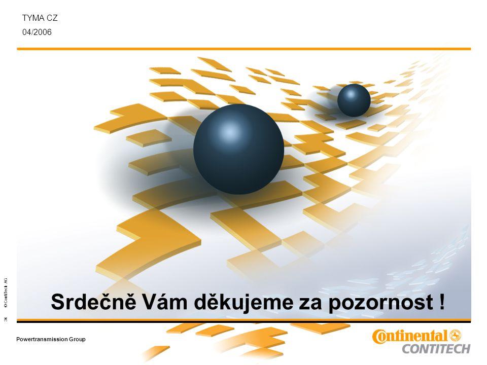 Powertransmission Group 34 © ContiTech AG TYMA CZ 04/2006 Srdečně Vám děkujeme za pozornost !