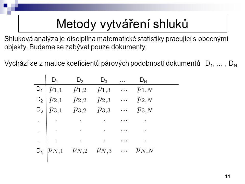11 Shluková analýza je disciplína matematické statistiky pracující s obecnými objekty. Budeme se zabývat pouze dokumenty. Vychází se z matice koeficie