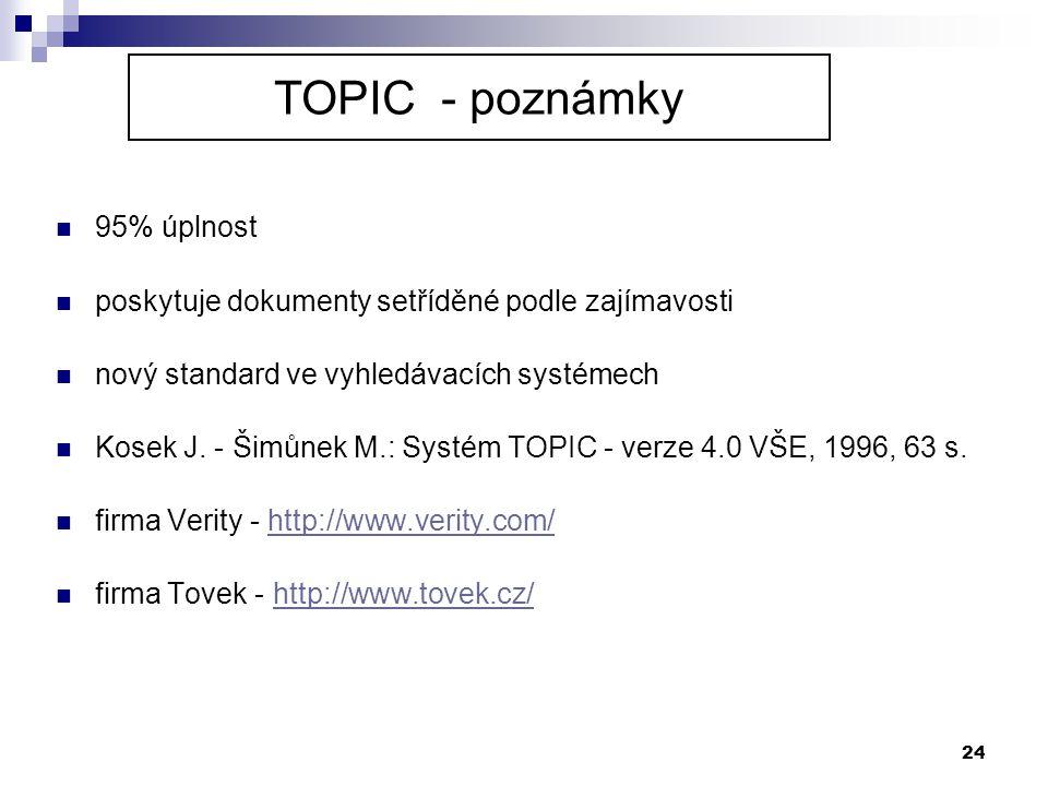 24  95% úplnost  poskytuje dokumenty setříděné podle zajímavosti  nový standard ve vyhledávacích systémech  Kosek J. - Šimůnek M.: Systém TOPIC -