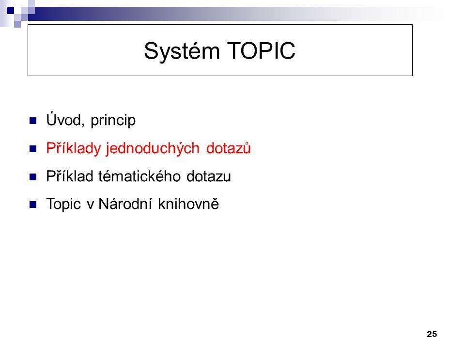 25 Systém TOPIC  Úvod, princip  Příklady jednoduchých dotazů  Příklad tématického dotazu  Topic v Národní knihovně