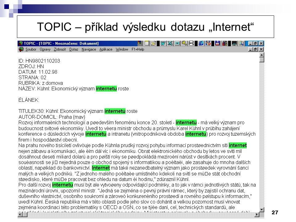 """27 TOPIC – příklad výsledku dotazu """"Internet"""""""