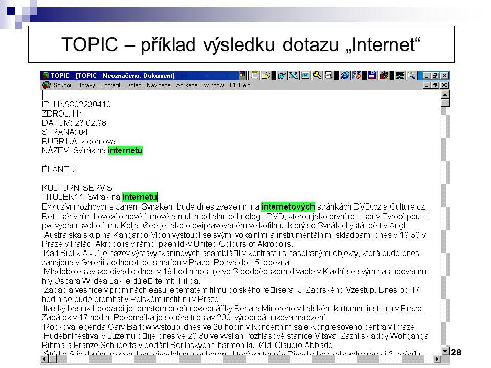 """28 TOPIC – příklad výsledku dotazu """"Internet"""""""