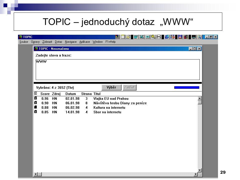 """29 TOPIC – jednoduchý dotaz """"WWW"""""""