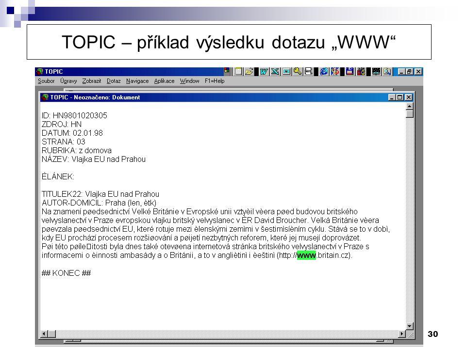 """30 TOPIC – příklad výsledku dotazu """"WWW"""""""