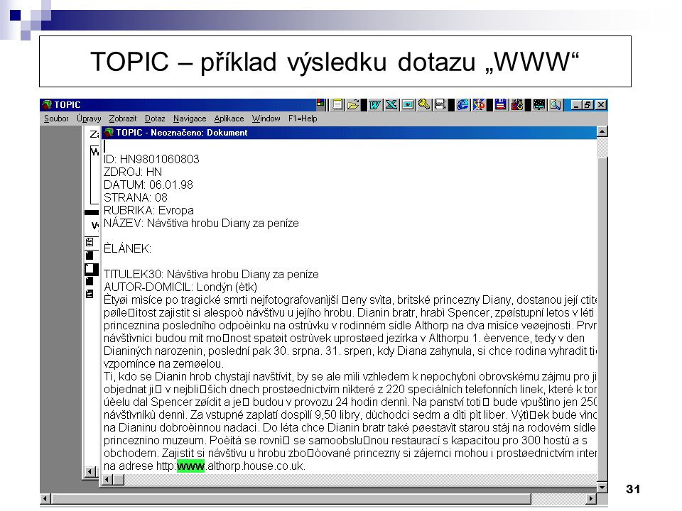 """31 TOPIC – příklad výsledku dotazu """"WWW"""""""