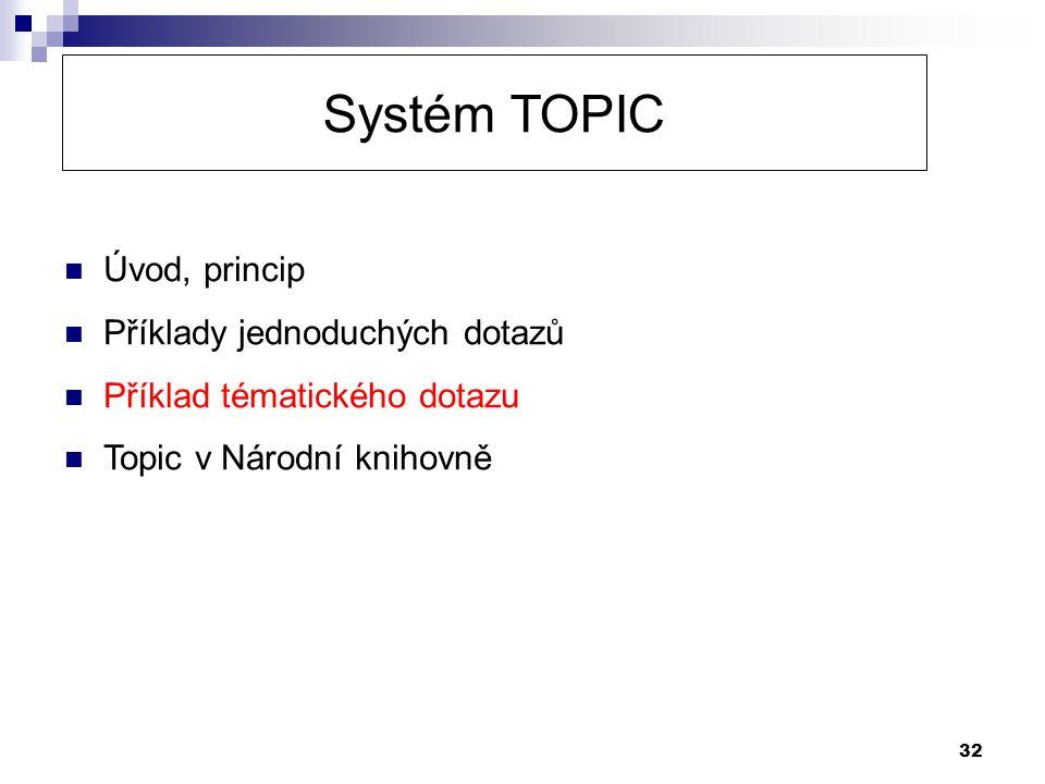 32 Systém TOPIC  Úvod, princip  Příklady jednoduchých dotazů  Příklad tématického dotazu  Topic v Národní knihovně