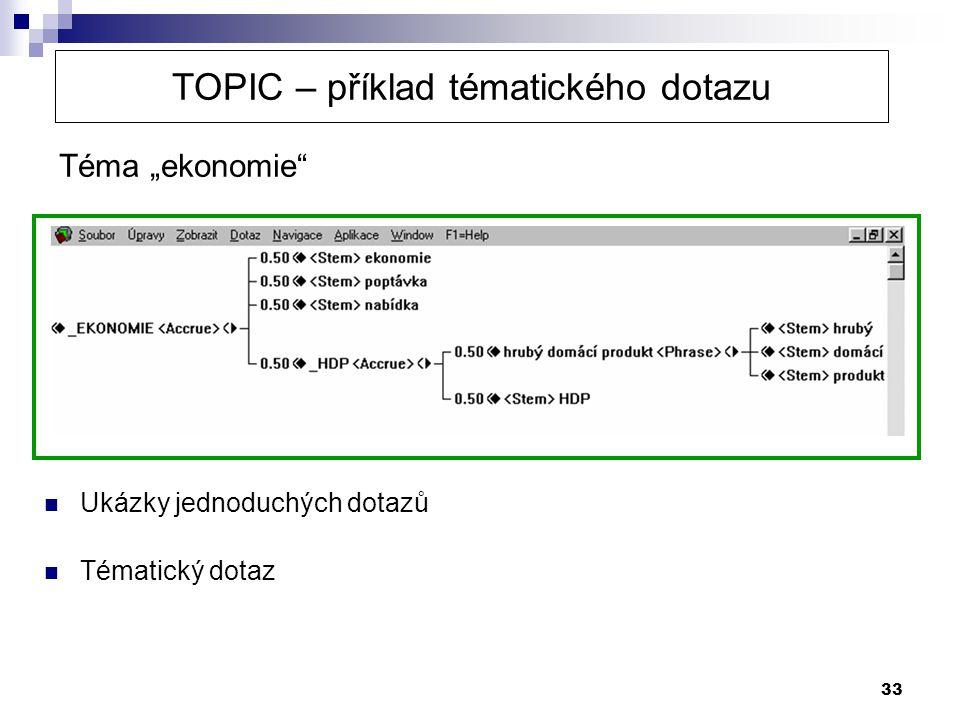 """33 Téma """"ekonomie"""" TOPIC – příklad tématického dotazu  Ukázky jednoduchých dotazů  Tématický dotaz"""