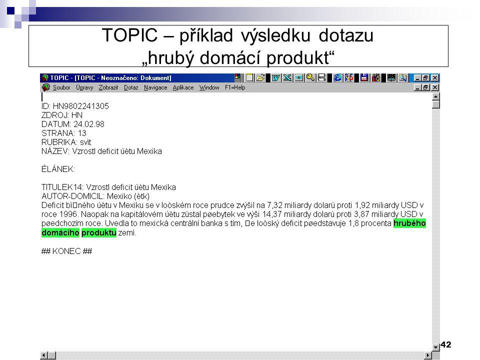 """42 TOPIC – příklad výsledku dotazu """"hrubý domácí produkt"""""""
