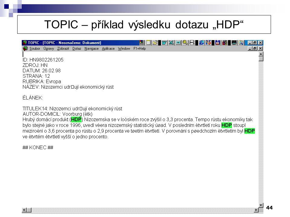 """44 TOPIC – příklad výsledku dotazu """"HDP"""""""