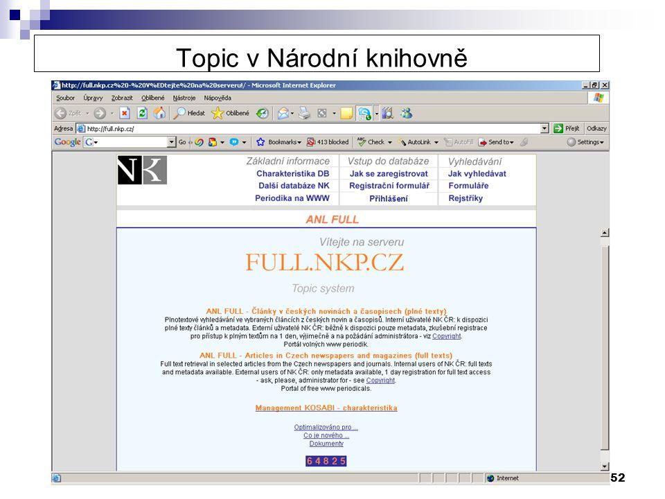 52 Topic v Národní knihovně