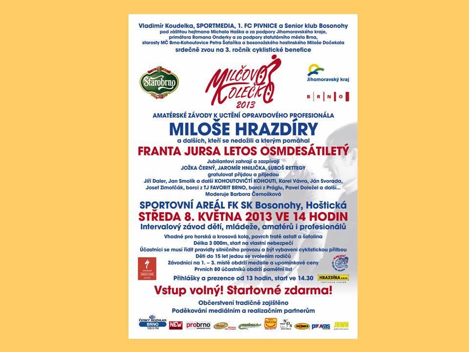 MILČOVO KOLEČKO 2013 Amatérský závod k uctění památky bosonožského profesionálního cyklistického závodníka Miloše Hrazdíry, jehož spoluorganizátorem b