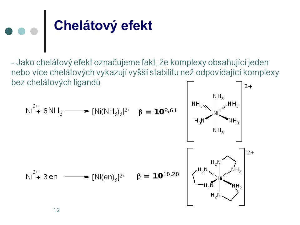 12 Chelátový efekt - Jako chelátový efekt označujeme fakt, že komplexy obsahující jeden nebo více chelátových vykazují vyšší stabilitu než odpovídající komplexy bez chelátových ligandů.