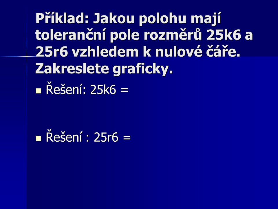 Příklad: Jakou polohu mají toleranční pole rozměrů 25k6 a 25r6 vzhledem k nulové čáře. Zakreslete graficky.  Řešení: 25k6 =  Řešení : 25r6 =