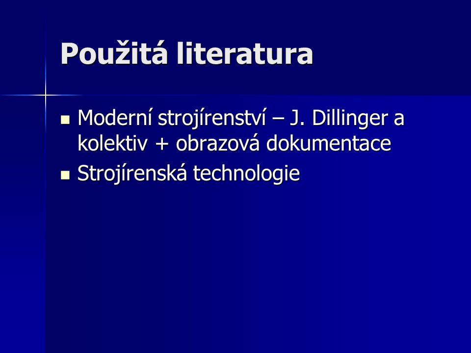Použitá literatura  Moderní strojírenství – J. Dillinger a kolektiv + obrazová dokumentace  Strojírenská technologie