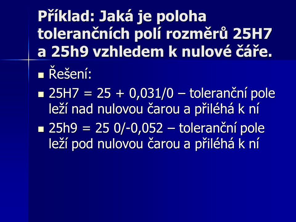 Příklad: Jaká je poloha tolerančních polí rozměrů 25H7 a 25h9 vzhledem k nulové čáře.  Řešení:  25H7 = 25 + 0,031/0 – toleranční pole leží nad nulov