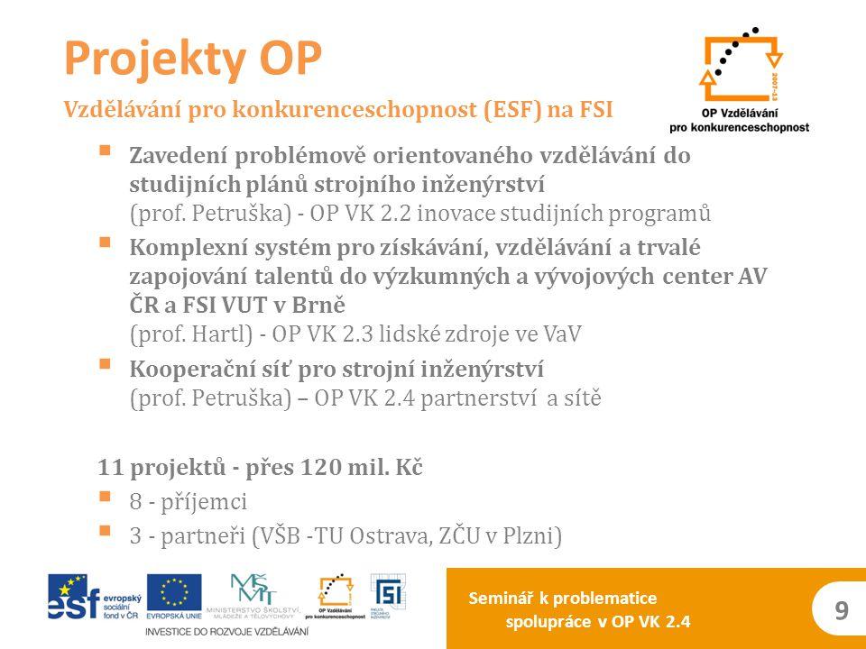 Seminář k problematice spolupráce v OP VK 2.4 9  Zavedení problémově orientovaného vzdělávání do studijních plánů strojního inženýrství (prof. Petruš