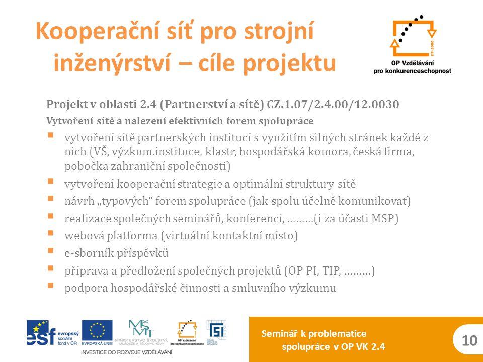Seminář k problematice spolupráce v OP VK 2.4 10 Projekt v oblasti 2.4 (Partnerství a sítě) CZ.1.07/2.4.00/12.0030 Vytvoření sítě a nalezení efektivní
