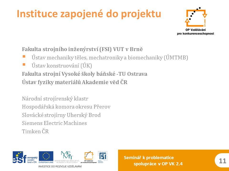 Seminář k problematice spolupráce v OP VK 2.4 11 Fakulta strojního inženýrství (FSI) VUT v Brně  Ústav mechaniky těles, mechatroniky a biomechaniky (