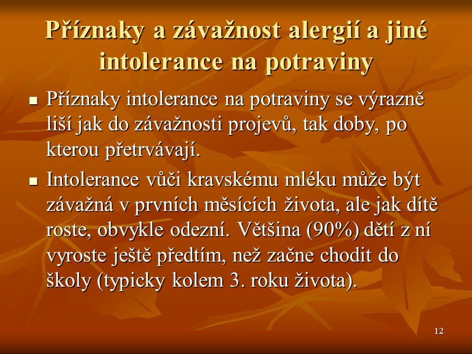12 Příznaky a závažnost alergií a jiné intolerance na potraviny  Příznaky intolerance na potraviny se výrazně liší jak do závažnosti projevů, tak dob