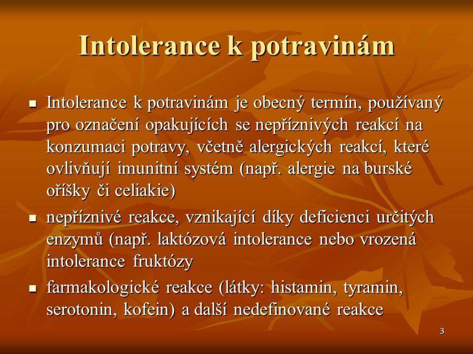3 Intolerance k potravinám  Intolerance k potravinám je obecný termín, používaný pro označení opakujících se nepříznivých reakcí na konzumaci potravy