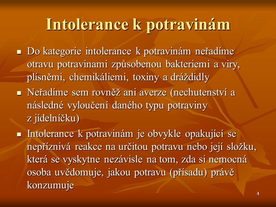 4 Intolerance k potravinám  Do kategorie intolerance k potravinám neřadíme otravu potravinami způsobenou bakteriemi a viry, plísněmi, chemikáliemi, t