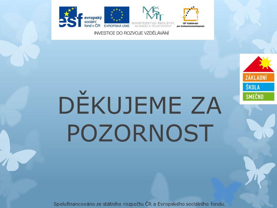 DĚKUJEME ZA POZORNOST Spolufinancováno ze státního rozpočtu ČR a Evropského sociálního fondu.
