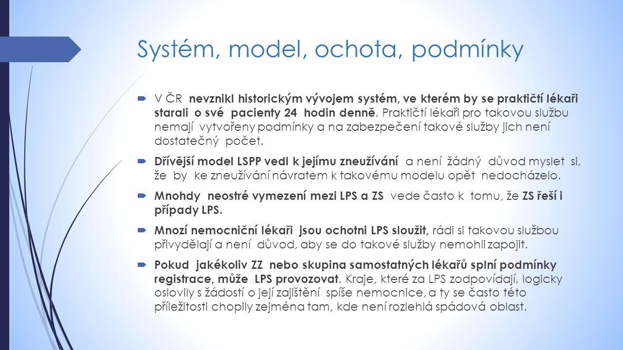 Systém, model, ochota, podmínky  V ČR nevznikl historickým vývojem systém, ve kterém by se praktičtí lékaři starali o své pacienty 24 hodin denně.