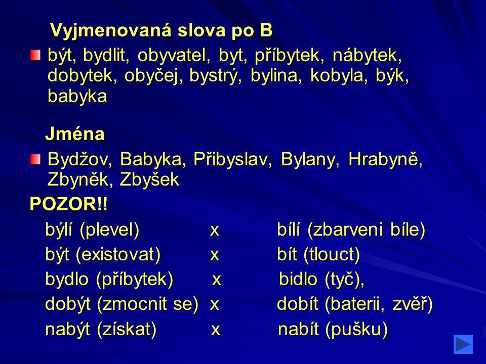 Další slova a vlastní jména Babyka (strom), Bydžov (město), Zbyněk, Zbyšek (jména osob)