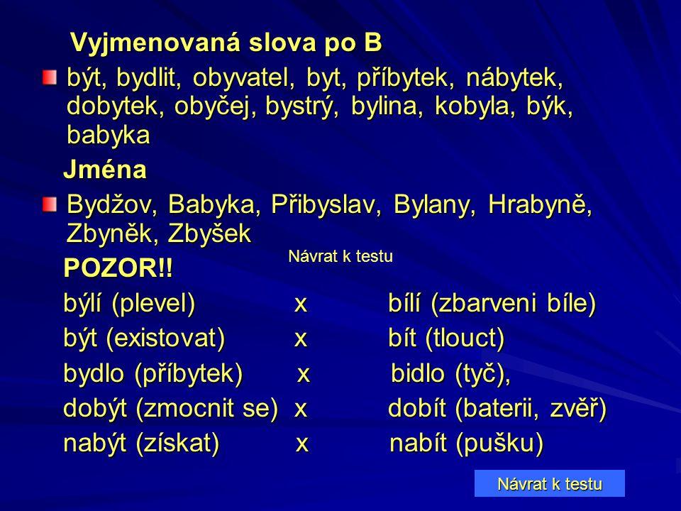 Vyjmenovaná slova po B Vyjmenovaná slova po B být, bydlit, obyvatel, byt, příbytek, nábytek, dobytek, obyčej, bystrý, bylina, kobyla, býk, babyka Jmén