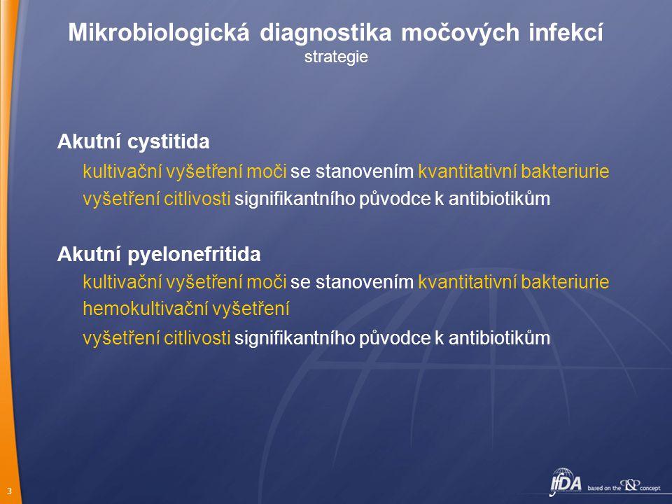 3 Mikrobiologická diagnostika močových infekcí strategie Akutní cystitida kultivační vyšetření moči se stanovením kvantitativní bakteriurie vyšetření