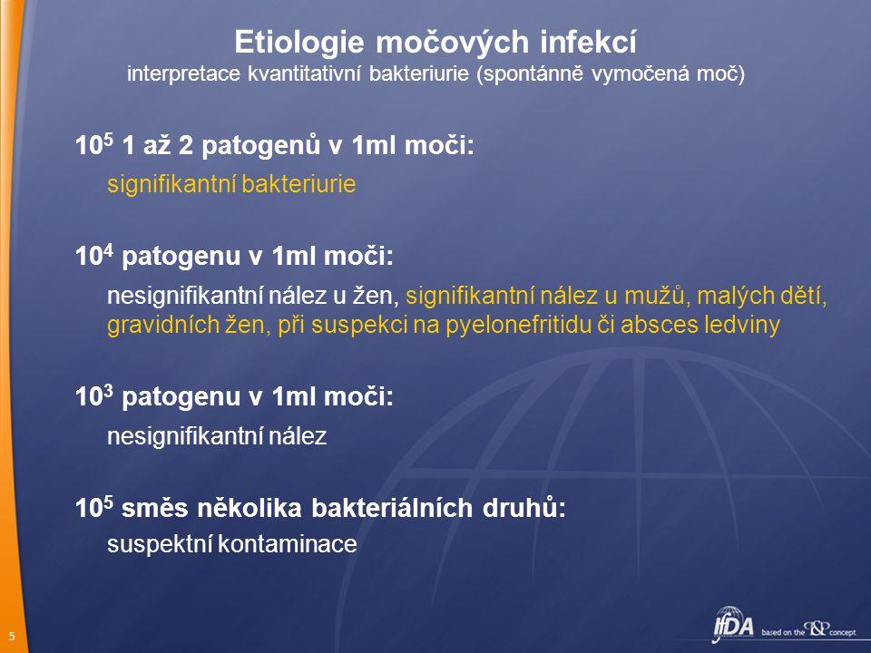 5 Etiologie močových infekcí interpretace kvantitativní bakteriurie (spontánně vymočená moč) 10 5 1 až 2 patogenů v 1ml moči: signifikantní bakteriuri
