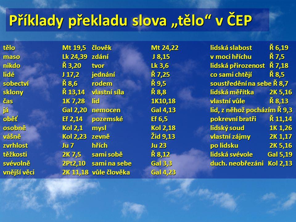 """Příklady překladu slova """"tělo"""" v ČEP tělo Mt 19,5 člověk Mt 24,22 lidská slabost Ř 6,19 maso Lk 24,39 zdání J 8,15 v moci hříchu Ř 7,5 nikdo Ř 3,20 tv"""