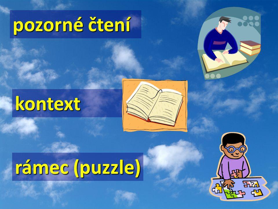 rámec (puzzle) pozorné čtení kontext