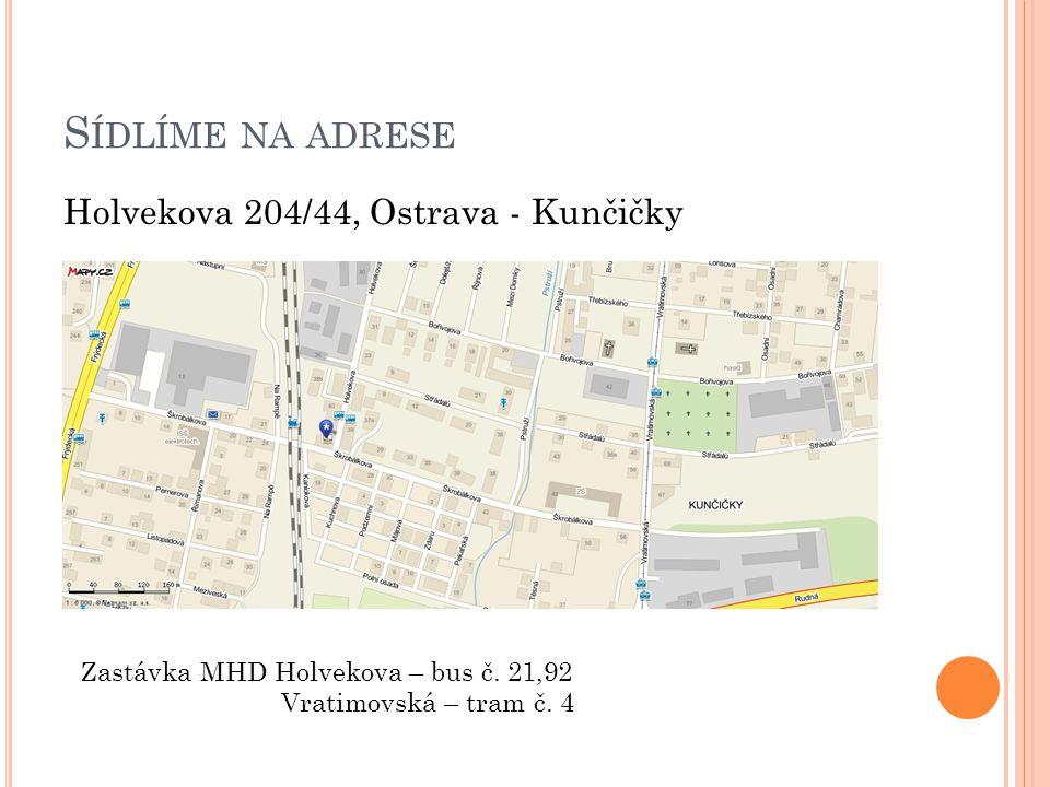 S ÍDLÍME NA ADRESE Holvekova 204/44, Ostrava - Kunčičky Zastávka MHD Holvekova – bus č. 21,92 Vratimovská – tram č. 4