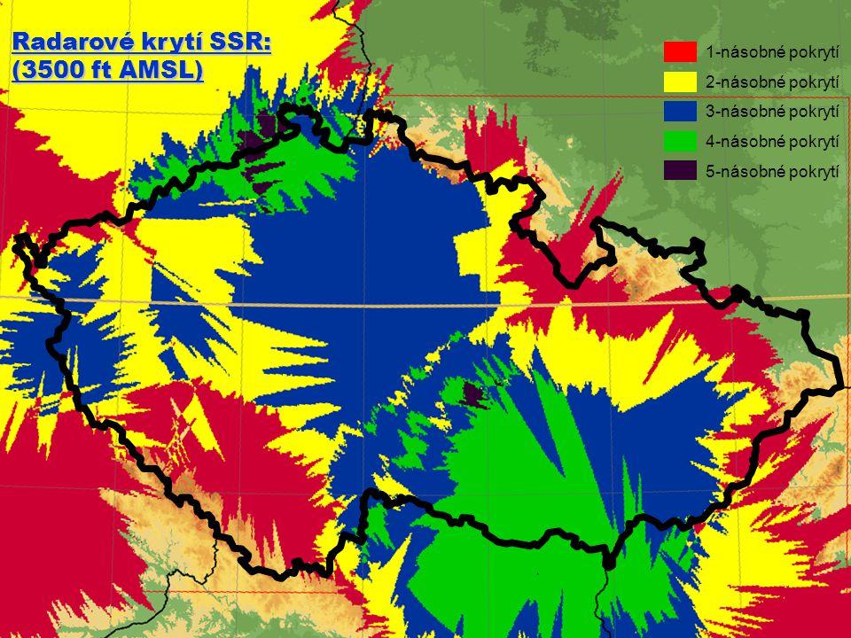 1012.1.2013 Radarové krytí SSR: (3500 ft AMSL) 1-násobné pokrytí 2-násobné pokrytí 3-násobné pokrytí 4-násobné pokrytí 5-násobné pokrytí
