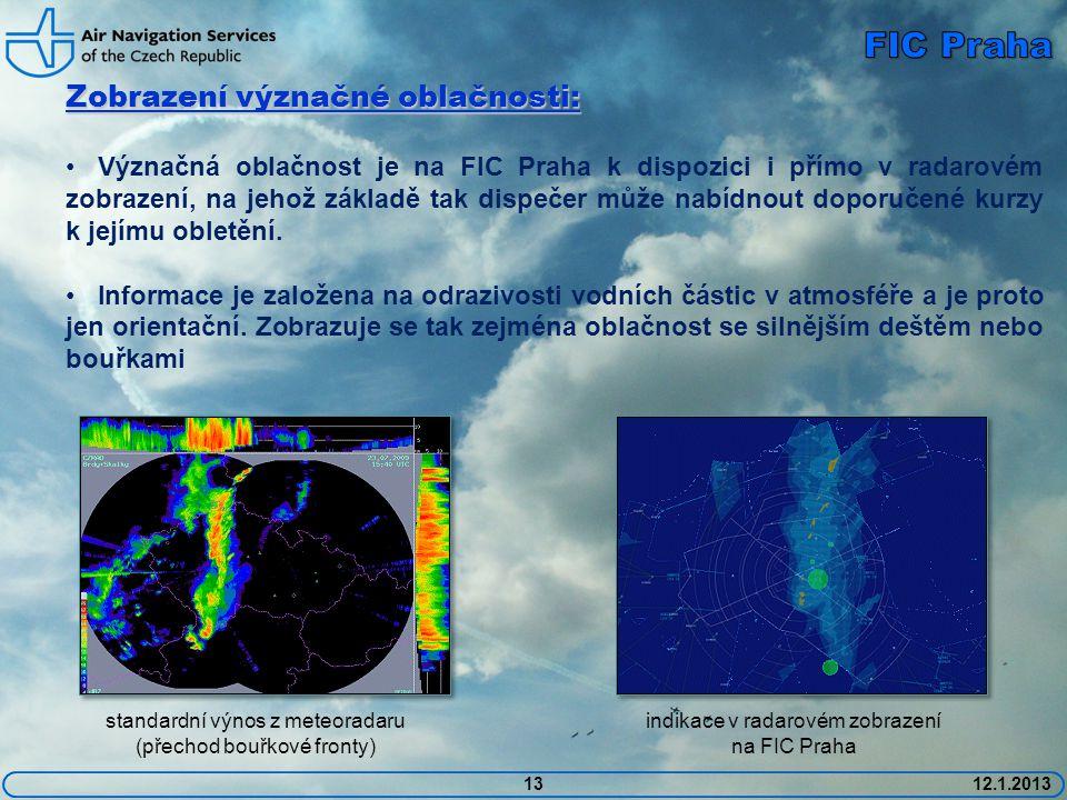 Zobrazení význačné oblačnosti: • Význačná oblačnost je na FIC Praha k dispozici i přímo v radarovém zobrazení, na jehož základě tak dispečer může nabí