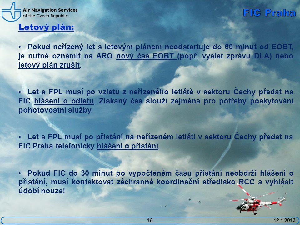 1512.1.2013 Letový plán: • Pokud neřízený let s letovým plánem neodstartuje do 60 minut od EOBT, je nutné oznámit na ARO nový čas EOBT (popř. vyslat z