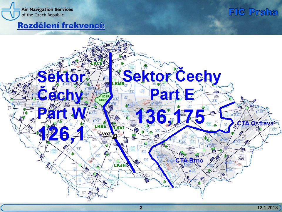 412.1.2013 Pokrytí frekvencí: CTA Brno CTA Ostrava