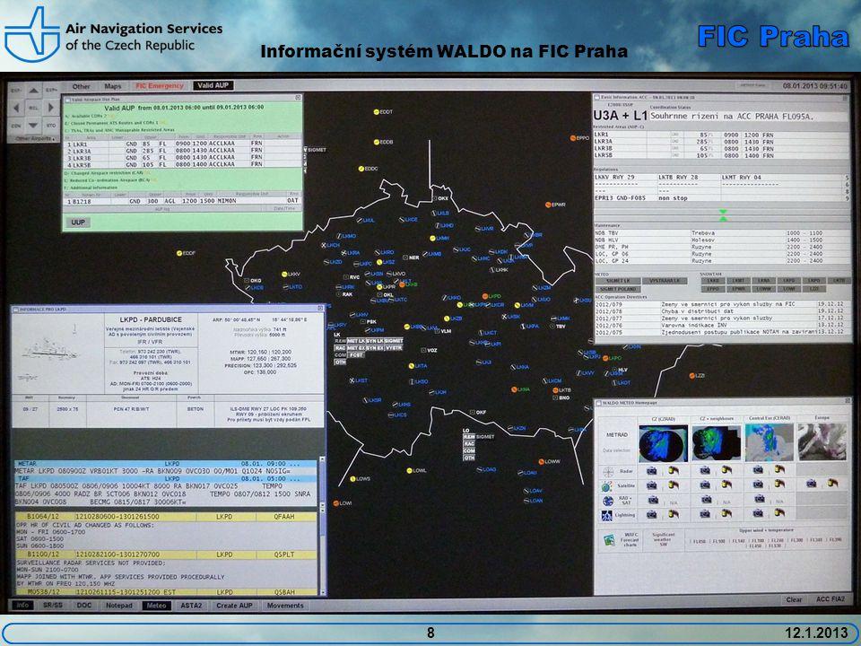 912.1.2013 Poskytované radarové služby: • FIC Praha poskytuje v rámci letové informační služby omezené radarové služby: • Informace o provozu a rady k vyhnutí • Informace o význačné oblačnosti, případně rady k obletění • Informace pomáhající letadlu při navigaci (doporučené kurzy k obletění omezených či řízených prostorů, pomoc bloudícímu letadlu apod.) • Informace se poskytují na vyžádání či případně i z iniciativy dispečera • Veškeré instrukce se vydávají jako doporučené.