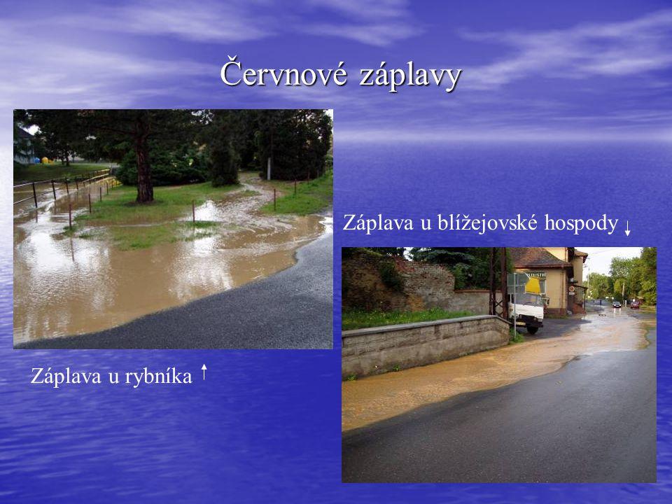 Červnové záplavy Červnové záplavy Záplava u rybníka Záplava u blížejovské hospody