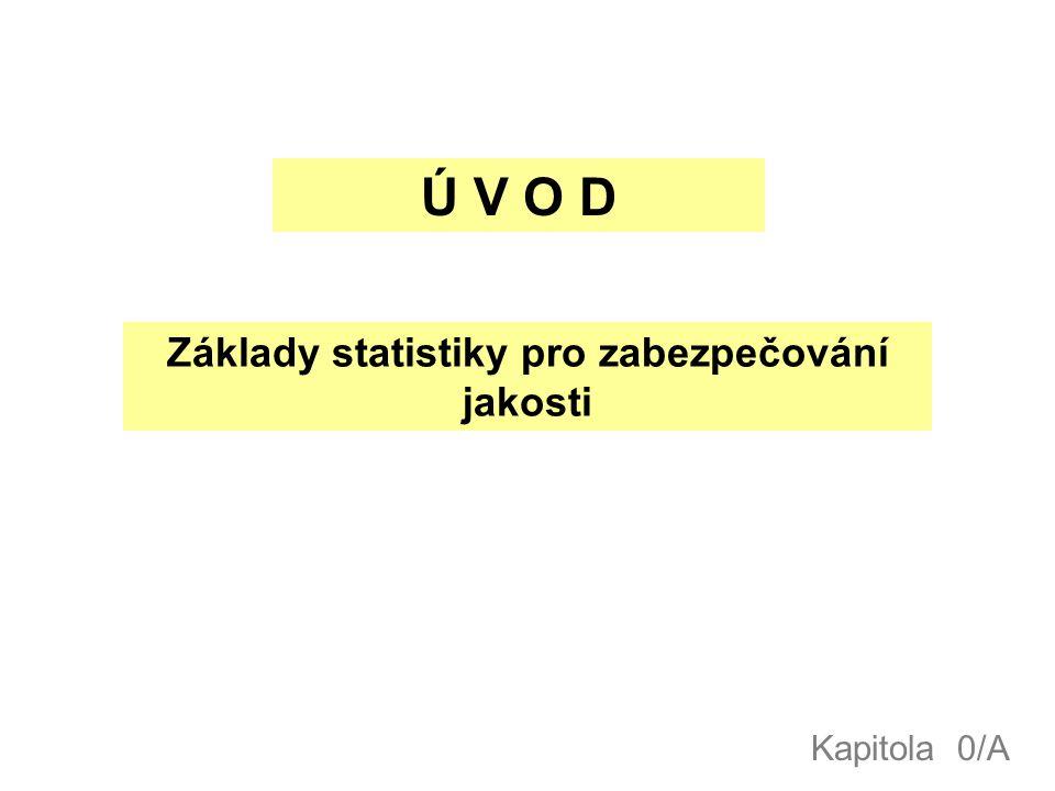 Ú V O D Základy statistiky pro zabezpečování jakosti Kapitola 0/A