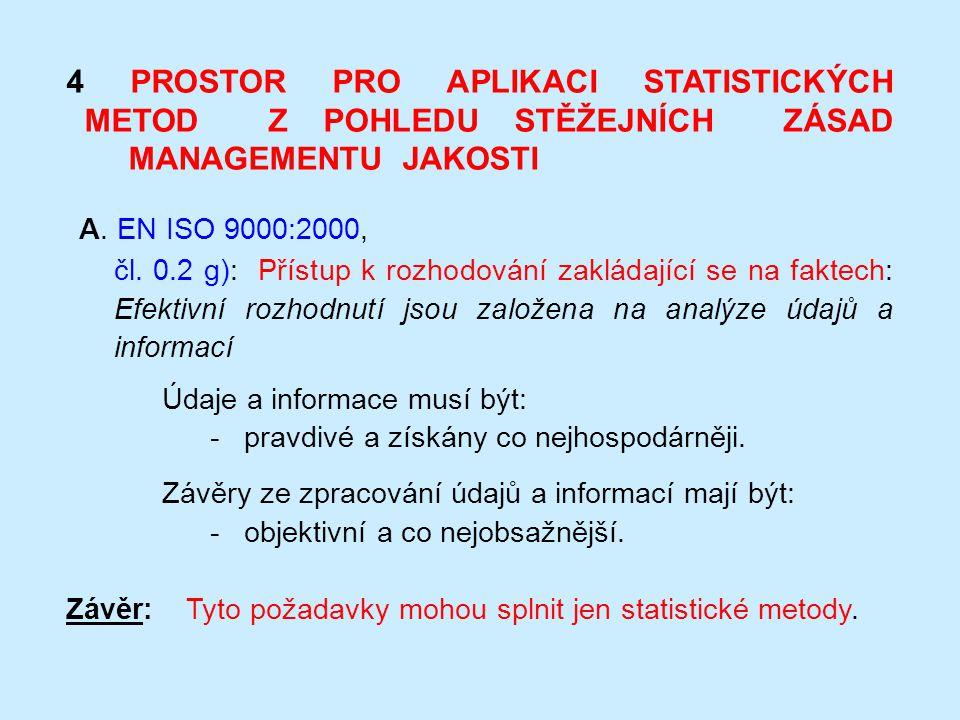 4 PROSTOR PRO APLIKACI STATISTICKÝCH METOD Z POHLEDU STĚŽEJNÍCH ZÁSAD MANAGEMENTU JAKOSTI A. EN ISO 9000:2000, čl. 0.2 g): Přístup k rozhodování zaklá