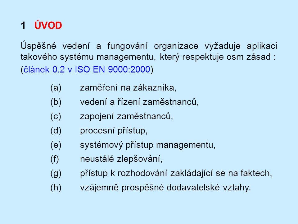 1 ÚVOD Úspěšné vedení a fungování organizace vyžaduje aplikaci takového systému managementu, který respektuje osm zásad : (článek 0.2 v ISO EN 9000:20