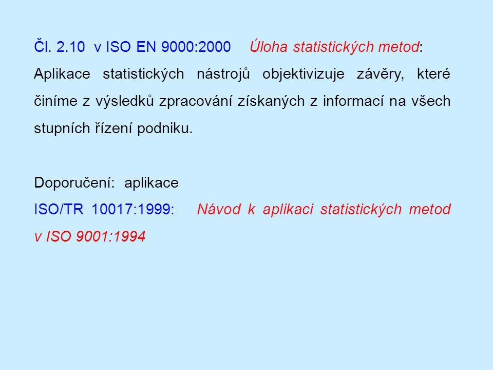 Čl. 2.10 v ISO EN 9000:2000 Úloha statistických metod: Aplikace statistických nástrojů objektivizuje závěry, které činíme z výsledků zpracování získan