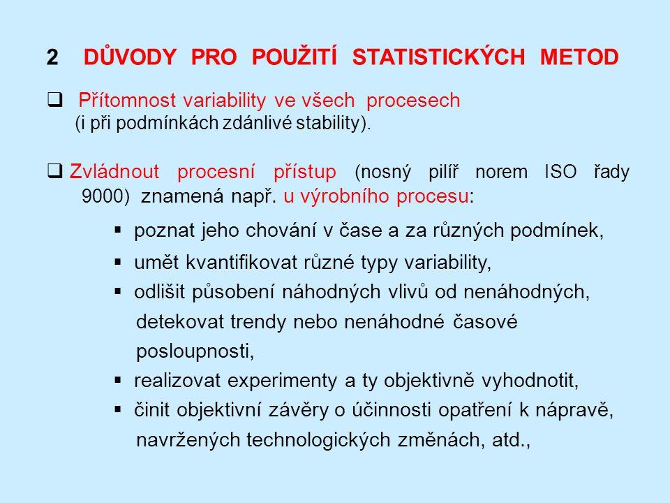 2 DŮVODY PRO POUŽITÍ STATISTICKÝCH METOD  Přítomnost variability ve všech procesech (i při podmínkách zdánlivé stability).  Zvládnout procesní příst