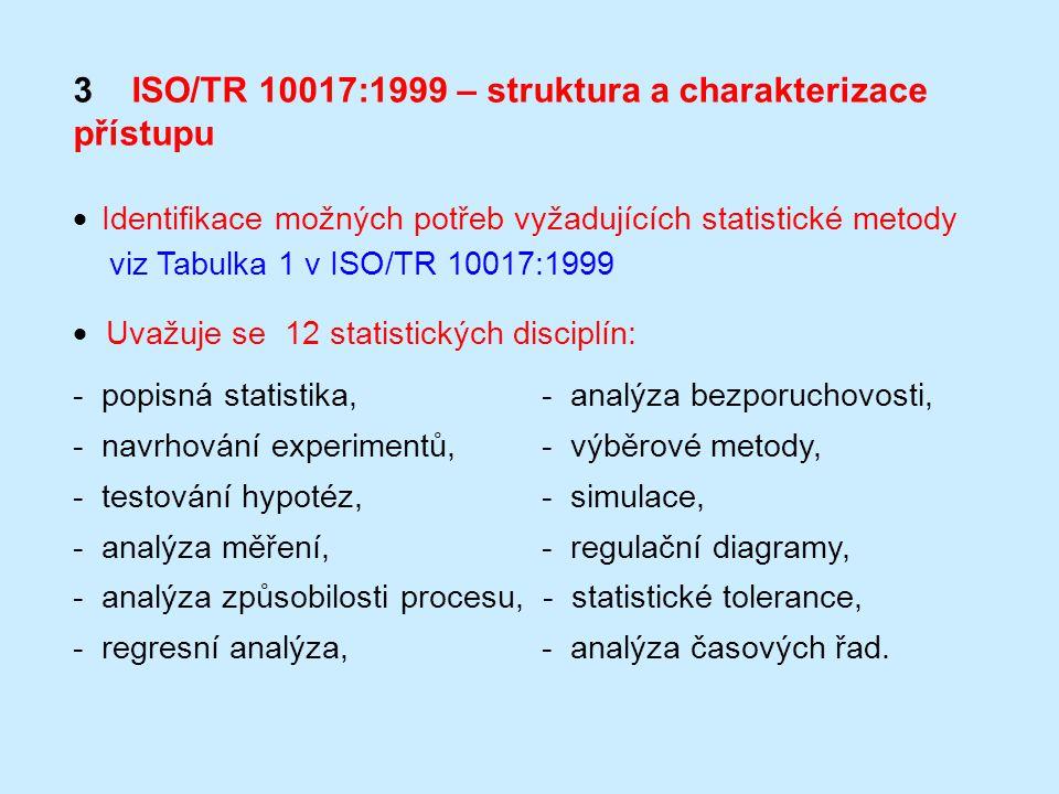 3 ISO/TR 10017:1999 – struktura a charakterizace přístupu  Identifikace možných potřeb vyžadujících statistické metody viz Tabulka 1 v ISO/TR 10017:1