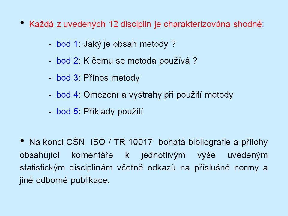 • Každá z uvedených 12 disciplin je charakterizována shodně: - bod 1: Jaký je obsah metody ? - bod 2: K čemu se metoda používá ? - bod 3: Přínos metod