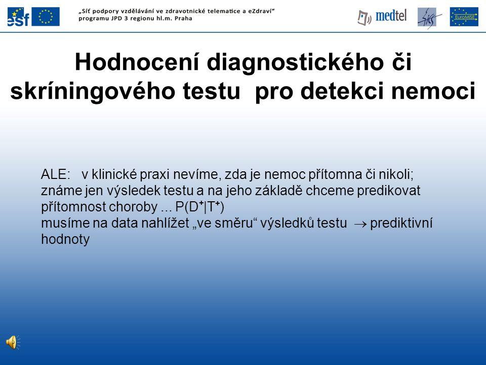 Hodnocení diagnostického či skríningového testu pro detekci nemoci ALE: v klinické praxi nevíme, zda je nemoc přítomna či nikoli; známe jen výsledek testu a na jeho základě chceme predikovat přítomnost choroby...
