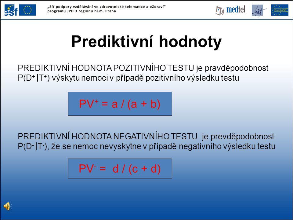 PREDIKTIVNÍ HODNOTA POZITIVNÍHO TESTU je pravděpodobnost P(D + | T + ) výskytu nemoci v případě pozitivního výsledku testu PREDIKTIVNÍ HODNOTA NEGATIV