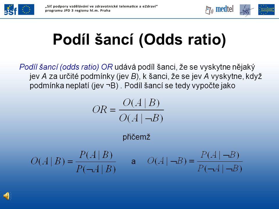 přičemž Podíl šancí (odds ratio) OR udává podíl šanci, že se vyskytne nějaký jev A za určité podmínky (jev B), k šanci, že se jev A vyskytne, když pod